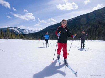 Skiing on Jackpine Lake, Bell Mountain