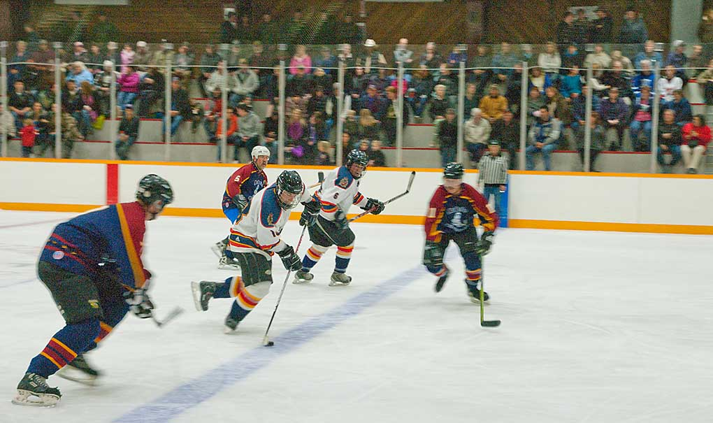 Action-packed game with 1 Service Battallion from Edmonton versus the McBride Oldtimers